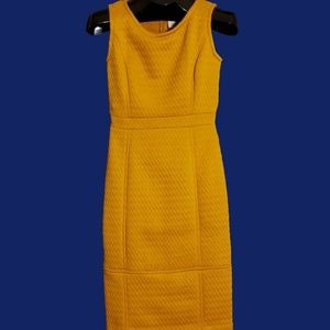 Anthropologie Tabitha Mustard Quilted Sheath Dress